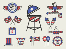 HAPPY 4th OF JULY AMERICAN INDEPENDENCE DAY ICON SIGN. PARTY DECORATION SETS vector illustration