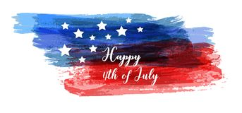 Happy 4th of July background. USA Independence day background. Happy 4th of July. Vector abstract grunge brushed flag with text. Template for banner, invitation Stock Photos