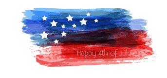 Happy 4th of July background. USA Independence day background. Happy 4th of July. Vector abstract grunge brushed flag with text. Template for banner, invitation Royalty Free Stock Photography