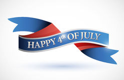 Happy 4th of july banner. illustration. Design over white Stock Photos