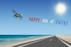 Happy 4th of July banner and plane Stock Images