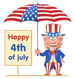 Happy 4th of July banner. Uncle Sam holds American flag umbrella. Cartoon styled vector illustration. On white background. No transparent objects Royalty Free Stock Images