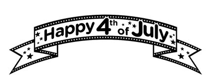 Happy 4th of July banner vector. Black and white American flag banner Stock Photos
