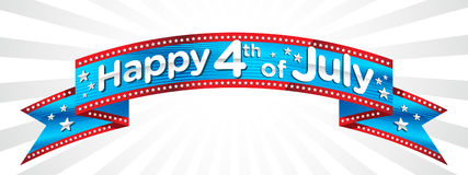 Happy 4th of July banner vector. Red white and blue American flag banner Stock Illustration