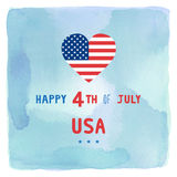 Happy 4th of July on blue and green watercolor background Royalty Free Stock Photos