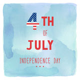 Happy 4th of July on blue and green watercolor background Stock Photo