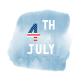 Happy 4th of July on blue watercolor background Stock Image