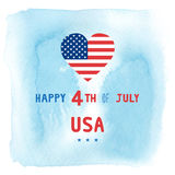 Happy 4th of July on blue watercolor background. Independence Day of United States of America Royalty Free Stock Image