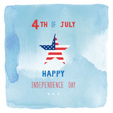 Happy 4th of July on blue watercolor background. Independence Day of United States of America Stock Images