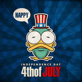Happy 4th of July card with cartoon duck. Royalty Free Stock Photography