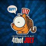 Happy 4th of July card with cartoon tiger. Happy 4th of July sticker card with cartoon tiger. Vector illustration Stock Image