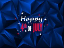 HAPPY 4th of JULY card on dark blue polygon background. Vector.  Landscape format Stock Images