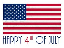 HAPPY 4th of JULY card with distressed American flag. Vector.  Square format Stock Photo