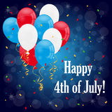 Happy 4th of july. 4th of july card with flying colorful balloons and confetti on dark blue background. EPS file available Stock Images