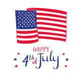 Happy 4th of July card. Hand drawn American flag and stars. Happy 4th of July card. Hand drawn American flag and stars on white background Stock Image