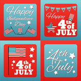 Happy 4 th of July card United States of America. Stock Photo