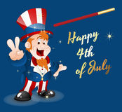 Happy 4th of July. Conceptual Drawing of Cute Happy Kid Uncle Sam Showing Victory Sign on 4th of July Vector Illustration Royalty Free Stock Photo