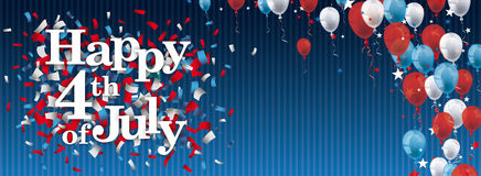 Happy 4th July Confetti Balloons Stars Blue Vintage Header. Vintage header with striped background, balloons and text Happy 4th of July Stock Images