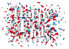Happy 4th Of July Confetti. Text Happy 4th Of July with colore confetti on the white Royalty Free Stock Photos