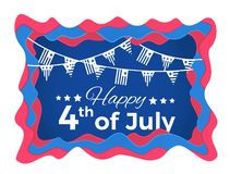 Happy 4th of July Abstract illustration with paper cut shapes. Happy 4th of July 3D abstract illustration with paper cut shapes Royalty Free Stock Photo