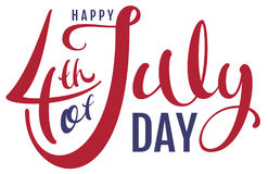 Happy 4th of July day. Handwritten text for greeting card Stock Photography