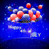 Happy 4th of July design. Blue background, balloons with stars. Striped text. American independence day greetings. For invitation, party, bbq. vector Royalty Free Stock Photo