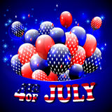 Happy 4th of July design. Blue background, baloons with stars, striped text.. American independence day greetings. For invintation, party, bbq. vector Stock Photos