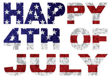 Happy 4th of July Flag Text Outline Texture vector Illustration. Happy Fourth of July USA Flag and Text Outline with Grunge Texture vector Illustration Stock Image