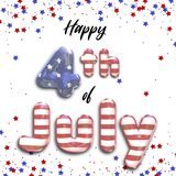 Happy 4th of July Foil Balloons Stars Stripes. Modern, trendy and elegant stars and stripes 3D illustration featuring Happy 4th of July 3d foil balloons with Royalty Free Stock Image