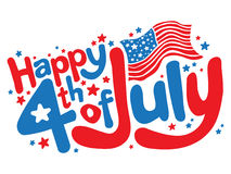 Happy 4th of July fun text vector graphic. Happy 4th of July with American flag graphic Stock Photo