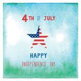 Happy 4th of July on green and blue watercolor background. Independence Day of United States of America Royalty Free Illustration
