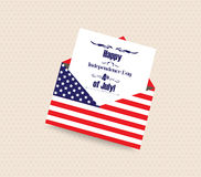 Happy 4th of July greeting card with envelope.  Royalty Free Stock Photo