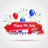 Happy 4th of July Greeting Postcard. With festive flags fireworks and balloons symbols realistic vector illustration Royalty Free Stock Image