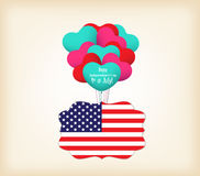 Happy 4th of July greetings with balloons fly.  Royalty Free Stock Photos