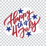 Happy 4th of July - hand-writing, calligraphy, typography, lettering. Vector isolated on white brush stroke background. For greeting card, badge, label, banner Stock Photography