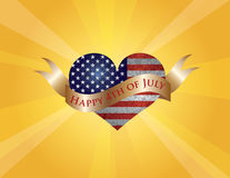 Happy 4th of July Heart with Scroll and Sun Rays. Fourth of July USA Flag in Heart Shape with Texture and Scroll with Happy 4th of July Text and Sun Rays Royalty Free Stock Images