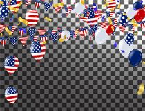 Happy 4th of July holiday banner. USA Independence Day Celebrati. On Banner. National American Greeting. Vector Stock Photos