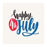 Happy 4th July holiday wish or inscription handwritten with elegant cursive calligraphic font on light background. United States of America Independence day Royalty Free Stock Photos
