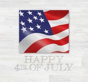 Happy 4th of July. An illustration of the US flag and the text 'Happy 4th of July Stock Image