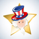 Happy 4th of July Independence Day. Conceptual Drawing Art of Cartoon Old Uncle Sam Character with Gold Star Vector Illustration vector illustration