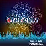 Happy 4th July independence day  with fireworks bacground. Happy 4th July independence day with fireworks Royalty Free Stock Photos