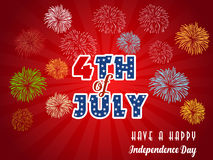 Happy 4th July independence day  with fireworks bacground. Happy 4th July independence day with fireworks Stock Images