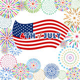 Happy 4th July independence day  with fireworks bacground Stock Images