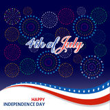 Happy 4th July independence day  with fireworks bacground. Happy 4th July independence day with fireworks Stock Photo