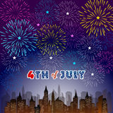 Happy 4th July independence day  with fireworks bacground Royalty Free Stock Photos
