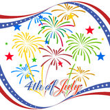 Happy 4th July independence day  with fireworks bacground. Happy 4th July independence day with fireworks Stock Photos