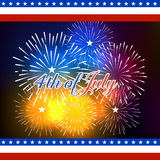Happy 4th July independence day  with fireworks bacground. Happy 4th July independence day with fireworks Royalty Free Stock Image