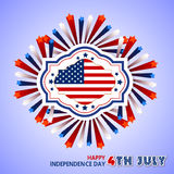 Happy 4th July independence day  with fireworks bacground Royalty Free Stock Photography