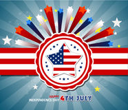 Happy 4th July independence day  with fireworks bacground. Happy 4th July independence day with fireworks Stock Image