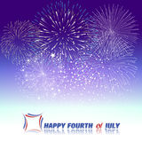 Happy 4th July independence day  with fireworks bacground Stock Photos